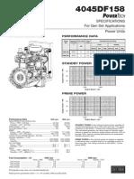 4045DF158 POWERTECH SPECIFICATIONS For Gen Set Applications