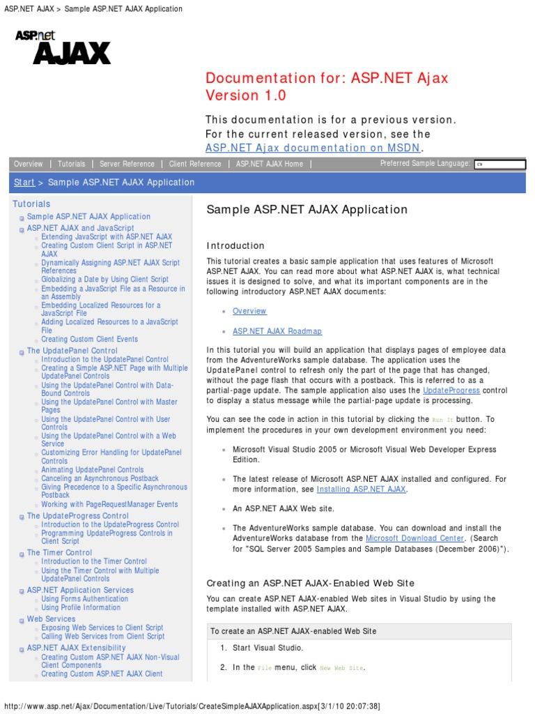 ASP net Ajax Sample ASP net Ajax Application | Active Server Pages