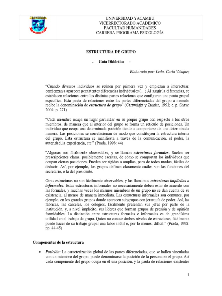 Guia Diactica Estructura De Grupo Conflicto Proceso