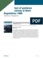 Electricity at Work Memorandum of Guidance