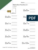 Beginning Multiplication Practice Thru 12