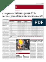 Compañías Mineras Ganan 21% Menos_Gestión 7-05-2014