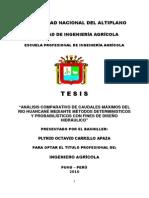 Análisis Comparativo de Caudales Máximos Del Rio Huancané Mediante Métodos Deterministicos y Prob