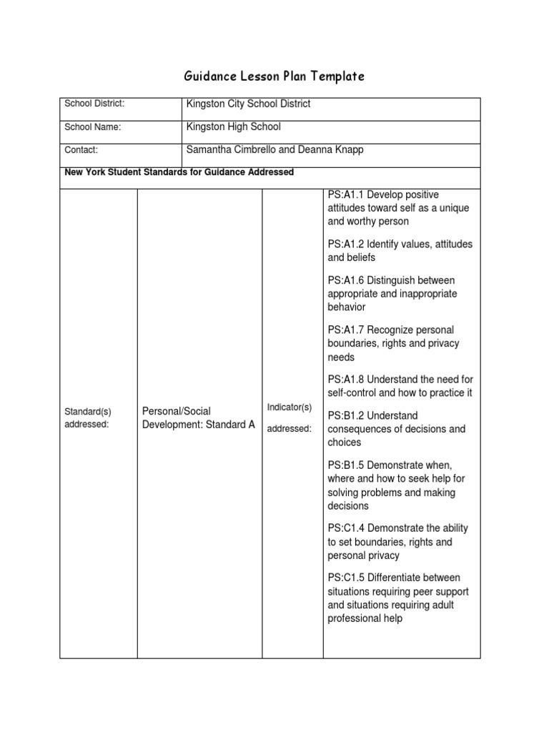 Guidance Lesson Plan Template 1 Internet School Counselor Social