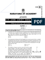 IIT JEE 2007 Paper 1 Solutions by Narayana