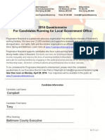 Tony Campbell's Progressive Maryland Questionnaire
