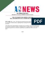 NBA Statement Regarding Advisory Finance Meeting 05-01-14