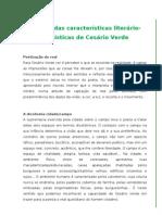 Síntese das características literário-estilísticas de Cesário