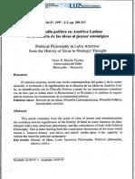 Filosofia Politica en AL de Las Ideas Al Pensar Estrategico