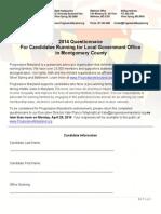 Robert Dyer Questionnaire for Progressive Maryland