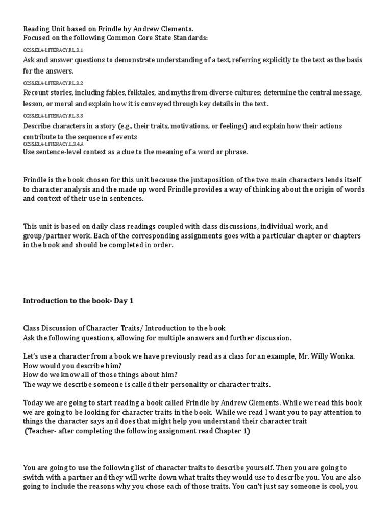 reading unit frindle 1 | Word | Semantics