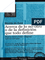 De Cusa, Nicolás - Acerca de Lo No-otro o de La Definición Que Todo Define