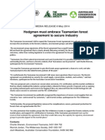 MEDIA RELEASE 8th May 2014 - Hodgman Must Embrace Tasmanian Forest Agreement to Secure Industry