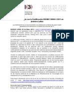 Level 3 distinguida con la Certificación ISO IEC 20000-1-2011 en América Latina