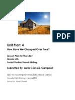 EDEL453 Spring2014 JanisGommeCampbell Unit Plan Thursday