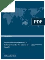 Australia's Costly Investment in Solomon Islands