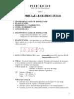 Fiziologie - Curs 3 Proprietatile Eritrocitelor