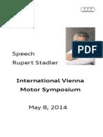 Rupert Stadler - International Vienna Motor Symposium 2014