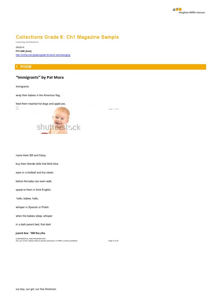 """Collections Grade 8: Ch1 Magazine Sample: """"Immigrants"""" by"""
