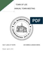 2014 Lee Annual Town Warrant