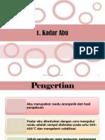 Kadar Abu, Mineral, Karbohidrat