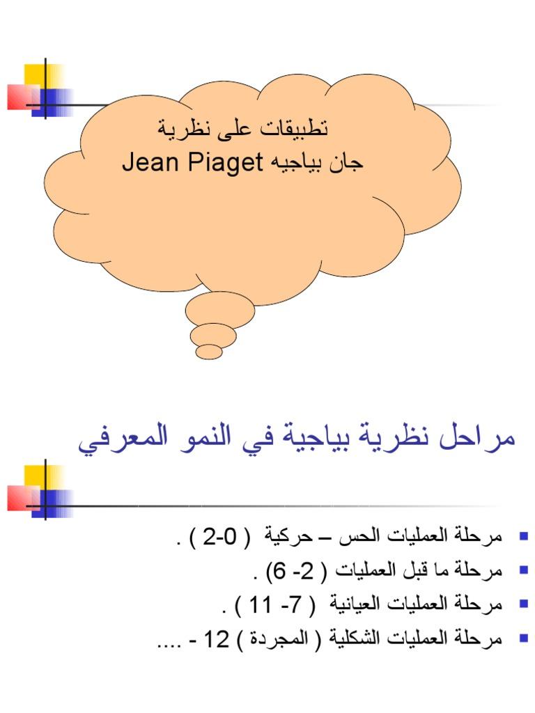 تطبيقات على نظرية بياجيه