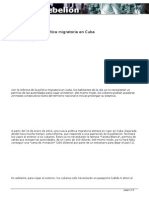 La Reforma de La Política Migratoria en Cuba