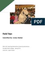 EDEL453 Spring2014 JordynBarber FieldTrips