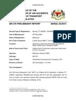 MH370 - Preliminary Report