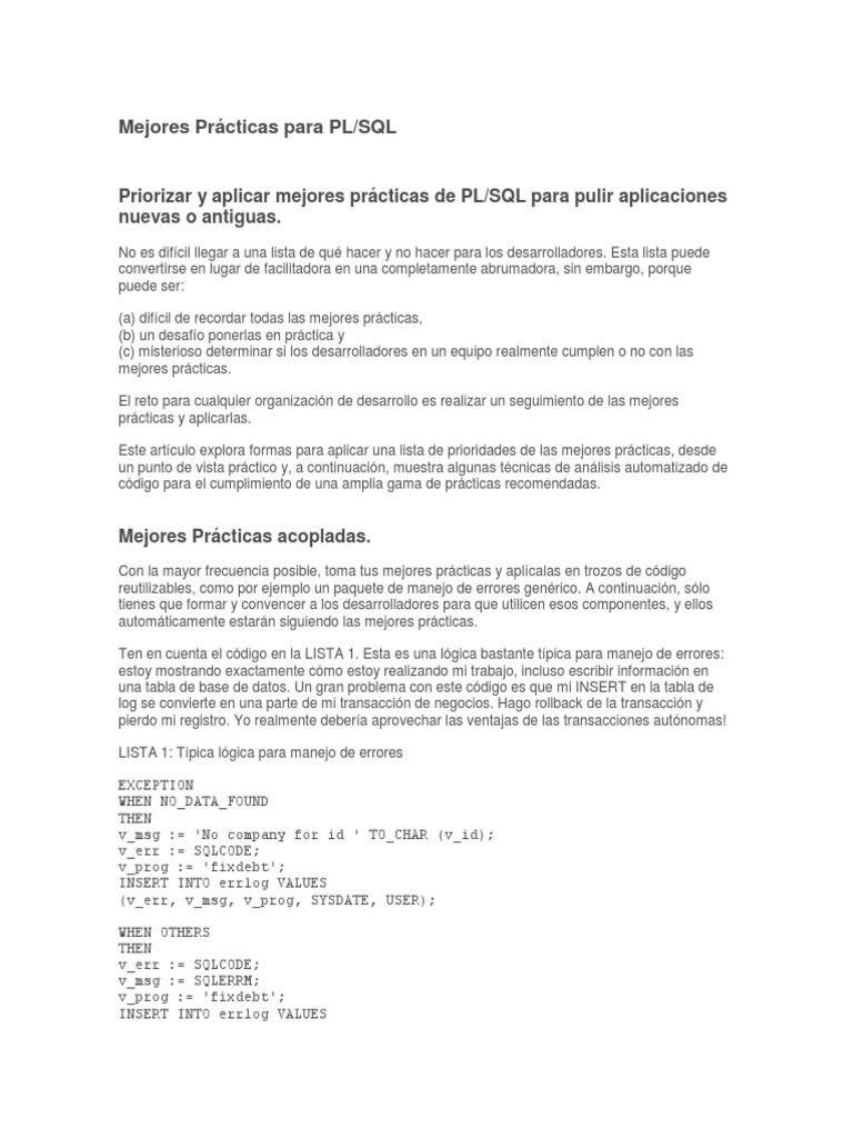 Mejores Prácticas Para PL SQL