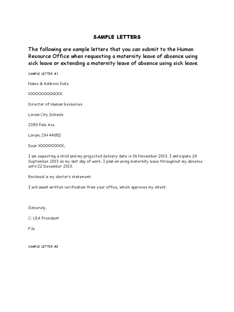 Sample Letter For Maternity Leave Of Absence from imgv2-2-f.scribdassets.com