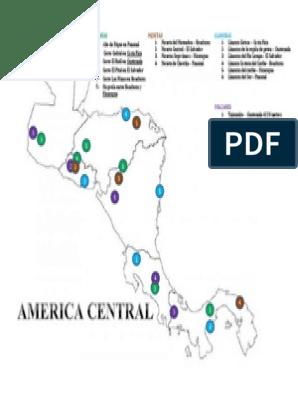Mapa De Centro America Con Sus Volcanes Mesetas Llanuras