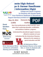 May College Career Readiness Parent Night Flyer