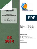 Eslarner Gemeinderatssitzungen - Mitschrift vom 08.05.2014