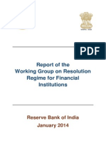 Report on Resolution Regime for Financial Institutions