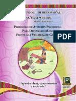 Protocolo de Atención Psicosocial Para Defensoras Mayas Frente a La Violencia de Género