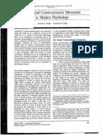 Gergen (1985) the Social Constructionist Movement in Modern Psychology