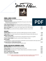 Dinner Menu for Mario's Place 2014