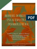 Biodiesel de Higuerilla Una Alternativa de Desarrollo Rural - UNAL- 1er Congreso Del Cultivo, Procesamiento y Aplicaciones de La Higuerilla- Medellín 2007