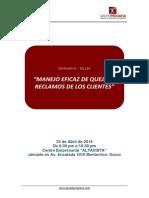 Presentacion de Manejo Eficaz de Quejas y Reclamos de Los Clientes