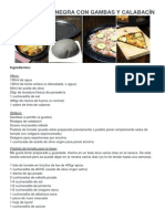 Pizza de Masa Negra Con Gambas y Calabacín