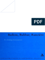 HEWLETT (2007) Badiou, Balibar, Ranciere. Re-thinking Emancipation