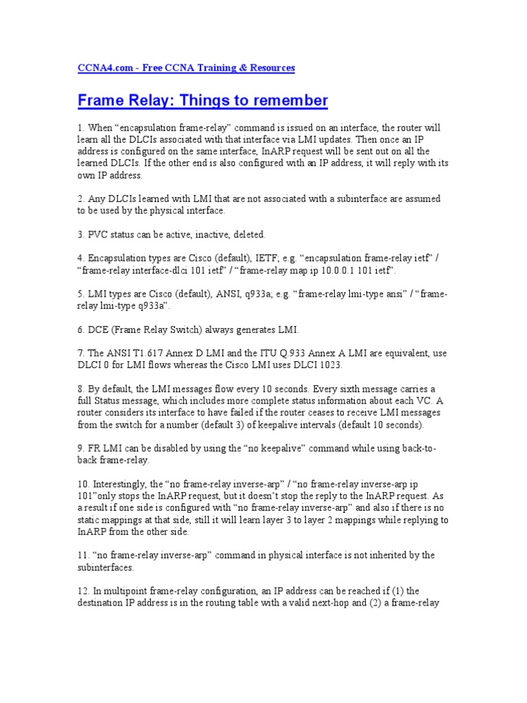 Frame Relay Things to Remember | Ip Address | Router (Computing)
