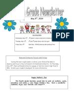 fourth grade newsletter 5-9