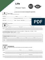 2014 alc short term missions team application