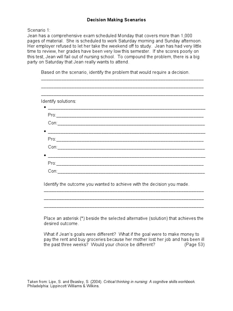 Decision Making Scenarios Worksheet | Educational Psychology ...