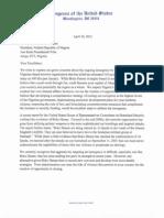 Bachmann, Cravaack Boko Haram Signed Letter April 2012