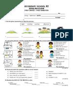Examen de Ingles Primer Grado Bloque I