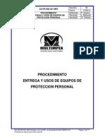 Procedimiento Entrega y Usos Equipos Proteccion Personal