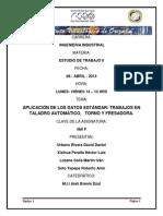 Aplicación de Los Datos Estándar Trabajos en Taladro Automático, Torno y Fresadora.